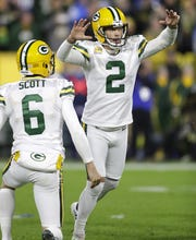 Packers kicker Mason Crosby (2) celebrates after kicking the game-winning field goal against the Detroit Lions on Oct. 14, 2019 at Lambeau Field.