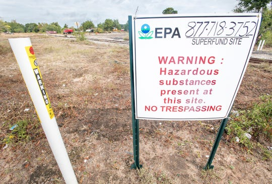 Work is being done at the Superfund site on the land between West Texar and West Fairfield drives in Pensacola on Oct. 15.