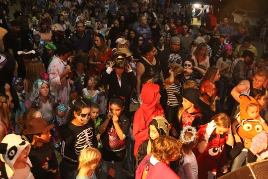 Many guests dress in costume for the Spooktacular Hot Air Balloon Festival.