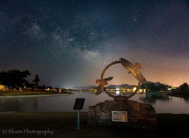 Milky Way Galaxy over Fountain Lake in Fountain Hills, Arizona.
