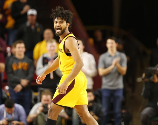 Arizona State guard Remy Martin (1) reacts after making a shot against Stanford during the first half in Tempe Feb. 20, 2019.