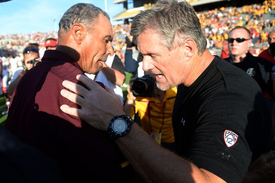 Arizona State Sun Devils head coach Herm Edwards (left) and Utah Utes head coach Kyle Whittingham (right) lead their teams into a pivotal Pac-12 college football game on Saturday in Salt Lake City.