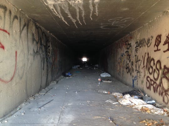 Inside the tunnels at Sandhill Road and Olive Street near Las Vegas