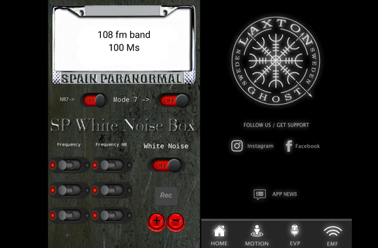 The SP White Noise Box and Laxton Ghost ghost-hunting apps, used to hunt ghosts in Las Vegas.