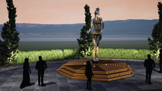 "Dana Albany's ""Tara Mechani,"" which portrays a female form made mostly with recycled materials, is another Burning Man addition to the Reno Neon Line."
