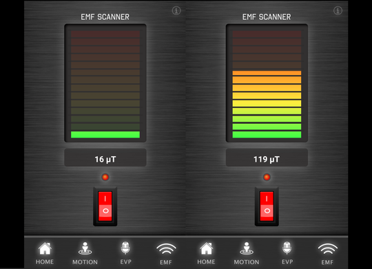 Results from the EMF test at the Hotel Apache at Binion's Gambling Hall, both before and after opening the window, using the Laxton Ghost app.