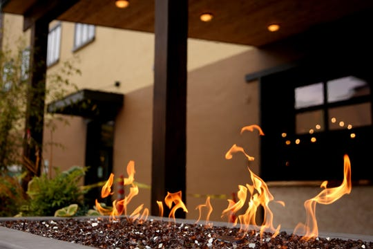 A fire table on the patio at Masonry Grill in downtown Salem on Oct. 15, 2019. The new restaurant under local ownership, inside the former Spaghetti Warehouse building, is planned to open in November.