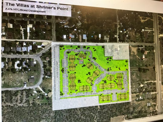 A screenshot of The Villas at Shriner's Point, a 156-unit affordable housing complex proposed for the north side of San Angelo.