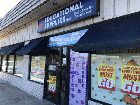 Signs posted to the storefront of Educational Supplies, Inc. on Tuesday, Oct. 15 indicate the shop will soon close.