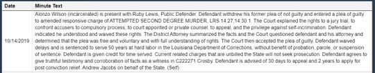 Pictured is a screen grab of the court minutes entered for Oct. 14, 2019, for Alonzo Wilson, who faced charges in the death of Barksdale Tech. Sgt. Joshua Kidd.