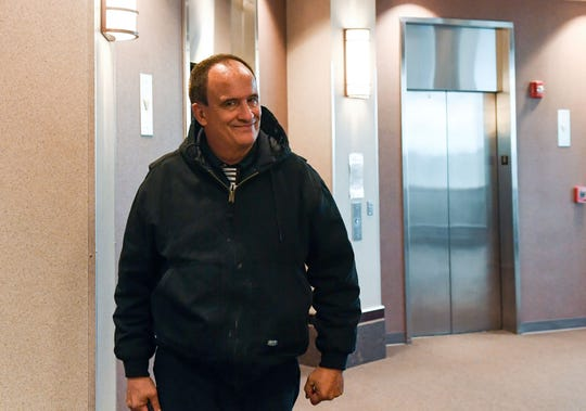 Christopher Bruce arrives for his trial date at the Minnehaha County Courthouse on Tuesday, October 15, in Sioux Falls. Bruce is accused of harassing public officials.