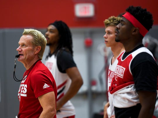 USD Coach Todd Lee leads practice during USD basketball media day on Tuesday, Oct. 15, 2019 at the Sanford Coyote Sports Center.