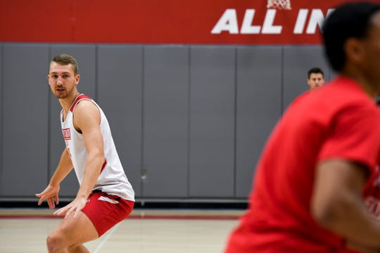 USD forward Tyler Hagedorn runs defense drills during USD basketball media day on Tuesday, Oct. 15, 2019 at the Sanford Coyote Sports Center.