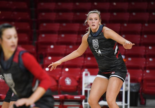 USD center Hannah Sjerven runs drills with her team during USD basketball media day on Tuesday, Oct. 15, 2019 at the Sanford Coyote Sports Center.
