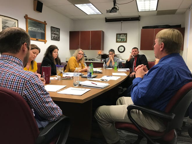 Tri-Valley school administrators talk with school board members and Superintendent  Mike Lodmel during a meeting Monday, Oct. 14, 2019, about the need for more space and classrooms within the district. The board later voted to call a bond election for December to build a new $15.6 million school.