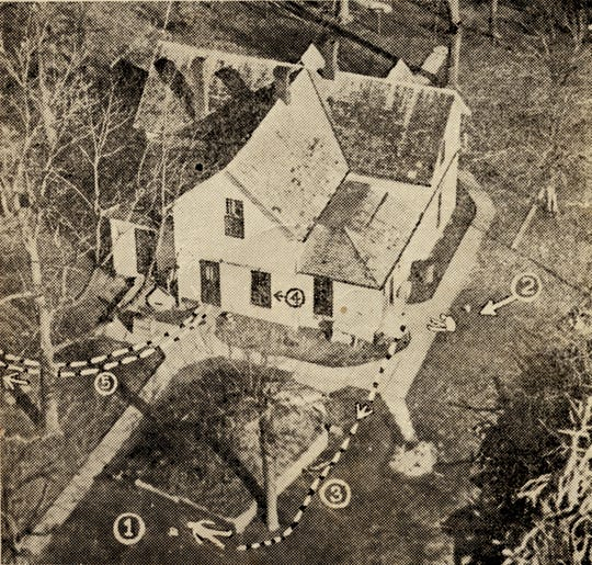 "An aerial photo of the Young farmhouse with markings drawn to show where rescuers found some of the slain officers as it appeared in the 1932 booklet ""The Young Brothers Massacre"" by John R. Woodside."