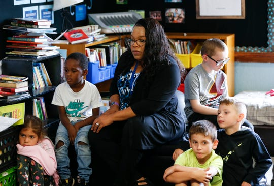 Boyd Elementary Principal Angela Holloway Payne has a goal of spending at least 35 percent of each day on instruction. Here, she visits a classroom.