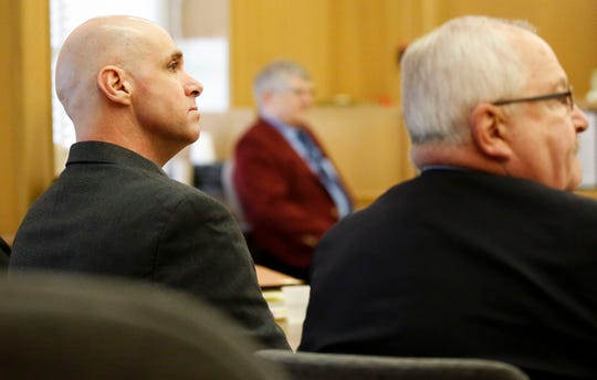 Jason Sypher listens to testimony on Tuesday, October 15, 2019, at the Portage County Courthouse in Stevens Point, Wis. Sypher is accused of murdering his wife, Krista Sypher, who went missing in March 2017 and has not been found.