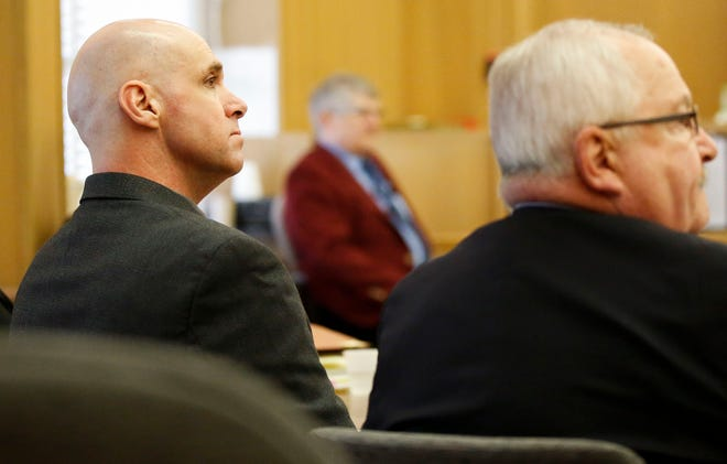 Jason Sypher listens to testimony on Tuesday, October 15, 2019, at the Portage County Courthouse in Stevens Point, Wis. Sypher is accused of murdering his wife, Krista Sypher, who went missing in March 2017 and has not been found.Tork Mason/USA TODAY NETWORK-Wisconsin
