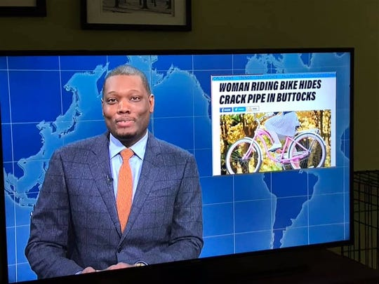 """""""Saturday Night Live"""" Weekend Update anchor Michael Che talks Saturday about a story originally written by breaking news reporter Will Greenlee and published on TCPalm."""