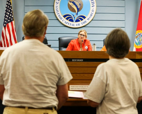 The Pelican Cafe's lease was at the top of the agenda during the Stuart Commission meeting at Stuart City Hall on Monday, Oct. 14, 2019, in Stuart. The owners of the cafe, Paul and Linda Daly, and dozens of patrons urged the commissioners to extend the lease at least 10 years. Patrons argued the waterfront restaurant was a tribute to old Florida. Commissioners were uncomfortable with the terms and the decision was pushed off to next month to discuss details of the lease.