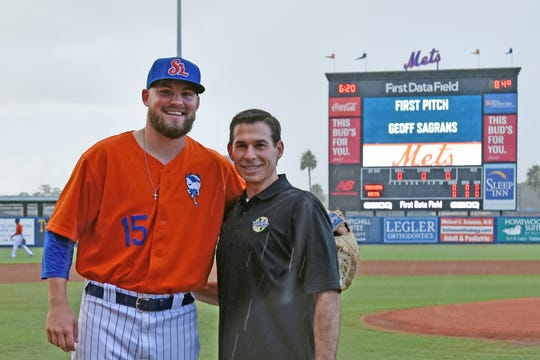 St. Lucie Mets player Thomas McIlraith, left, with Geoff Sagrans, who threw the first pitch at Strike Out Hunger night at First Data Field on Aug. 22, 2019.  Sagrans is director of Localecopia, a partner of Treasure Coast Food Bank's Farm 2 School Program.