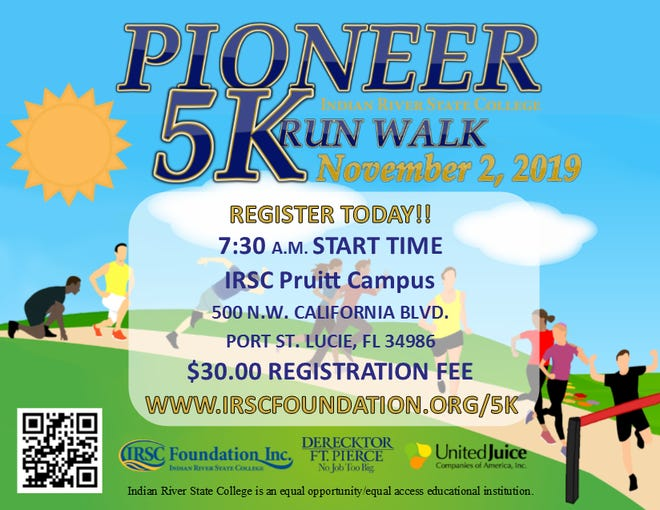 The second annual Pioneer 5K Run/Walk, benefiting the Indian River State College Foundation, is Nov. 2 atthe Indian River State College's Pruitt Campus in St. Lucie West.