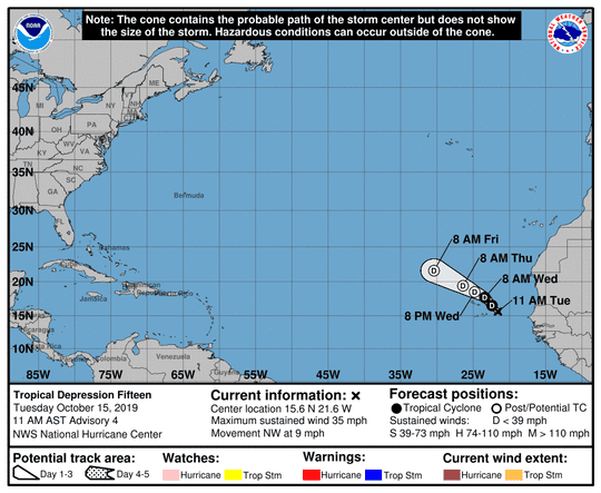 Tropical Depression 15 11 a.m. Oct. 15, 2019