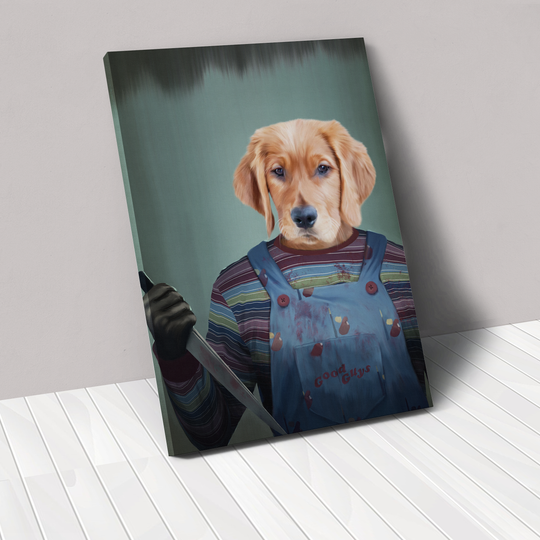 Turn your pet into Chucky for a fun, Halloween pet portrait through the website crownandpaw.com.