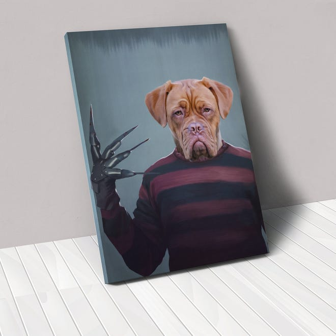 Turn your pet into Freddy Krueger this Halloween through the website crownandpaw.com.