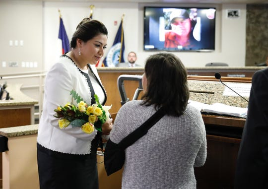Patricia Benavides, who lost her husband Arturo in the Aug. 3 El Paso mass shooting, attended the City Council meeting on Oct. 15, 2019 to hear that a Sun Metro transfer center had been named after her husband.