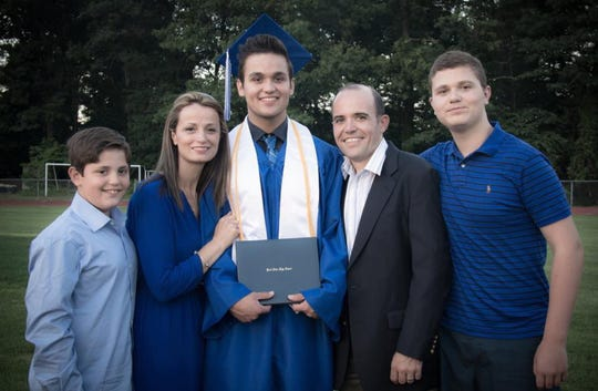 The Nezaj family at Andy Nezaj's graduation from Pearl River High School: Leon, Suzy, Andy, Jeff and Altin.  Altin Nezaj died in a car accident in Pearl River on Oct. 13, 2019.