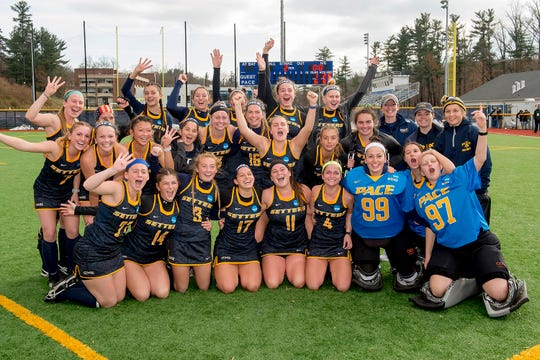 Pace Setters' field hockey team poses for a photo after beating Saint Anselm College, 6-1, to go to the NCAA Division II Field Hockey Final Four on Nov. 25, 2018.