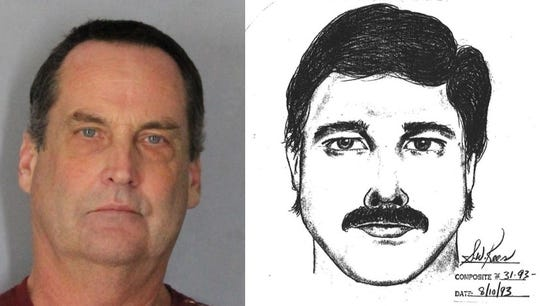 Jeffrey King, the man police have linked via DNA to a 1993 rape in Newark, and a composite drawn from the victim's description of the suspect in 1993