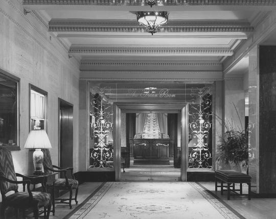 The entrance to the Green Room at the Hotel du Pont in 1987 hints at the lavish atmosphere seen in a picture of the room's interior taken in 1977.