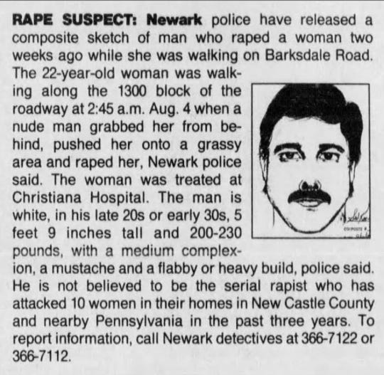 This News Journal clip from august 1993 describes a rape that was recently solved through DNA evidence.