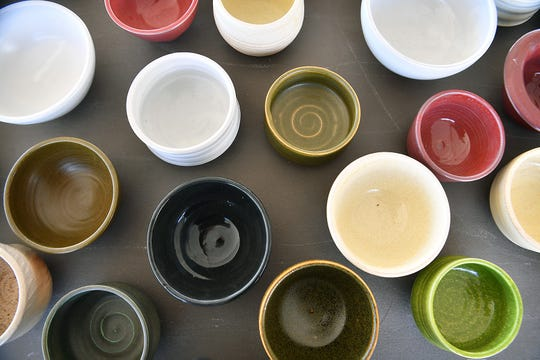 Hundreds of hand-thrown ceramic bowls were available at the 8th Annual Empty Bowls event Tuesday. Patrons each got a free bowl with their event ticket.