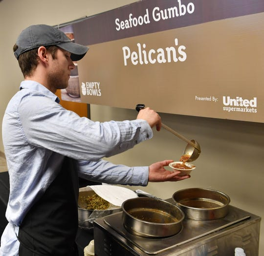 Pelican's Restaurant was serving their popular seafood gumbo Tuesday at the 8th Annual Empty Bowls event.