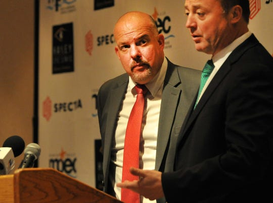 Wichita Falls Hockey president Jason Rent, left listened as NAHL Commissioner and President Mark Frankenfeld announced the return of hockey to Wichita Falls during a news conference held at the MPEC Tuesday afternoon.