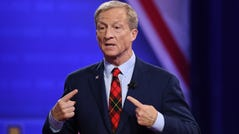 Democratic presidential hopeful US billionaire philanthropist Tom Steyer speaks during a town hall devoted to LGBTQ issues hosted by CNN and the Human rights Campaign Foundation at The Novo in Los Angeles on October 10, 2019. (Photo by Robyn Beck / AFP) (Photo by ROBYN BECK/AFP via Getty Images) ORIG FILE ID: AFP_1LB5G1