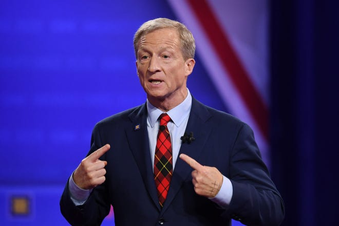 Democratic presidential hopeful US billionaire philanthropist Tom Steyer speaks during a town hall at The Novo in Los Angeles on Oct. 10, 2019.