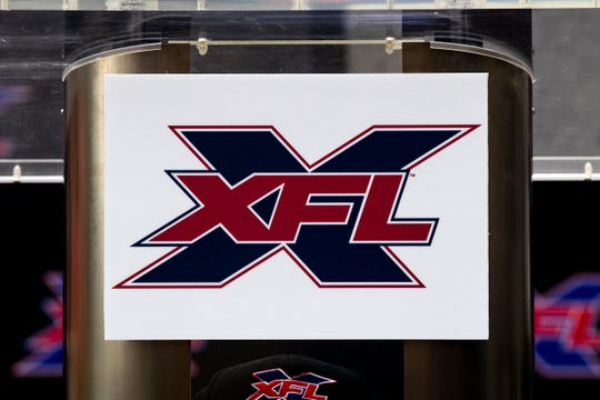 The XFL logo is photographed during the announcement of XFL's head coach and general manager of the Los Angeles team in Los Angeles, California.
