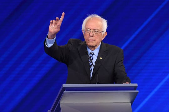 Sen. Bernie Sanders asks for time to speak to the moderators during the third Democratic primary debate of the 2020 presidential campaign.