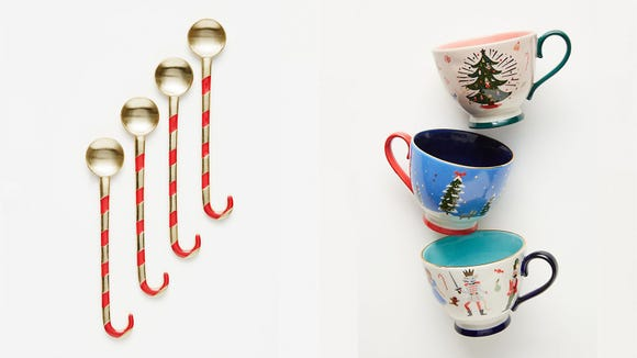 Best unique gifts 2019: Anthropologie Cocoa Spoons and Nutcracker Mugs