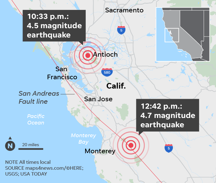 Bay Area Earthquake Map : View the latest earthquakes on an interactive map, displaying the magnitude, location, depth and the event time.