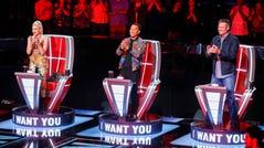 "THE VOICE -- ""Blind Auditions"" -- Pictured: (l-r) Gwen Stefani, John Legend, Blake Shelton -- (Photo by: Trae Patton/NBC)"