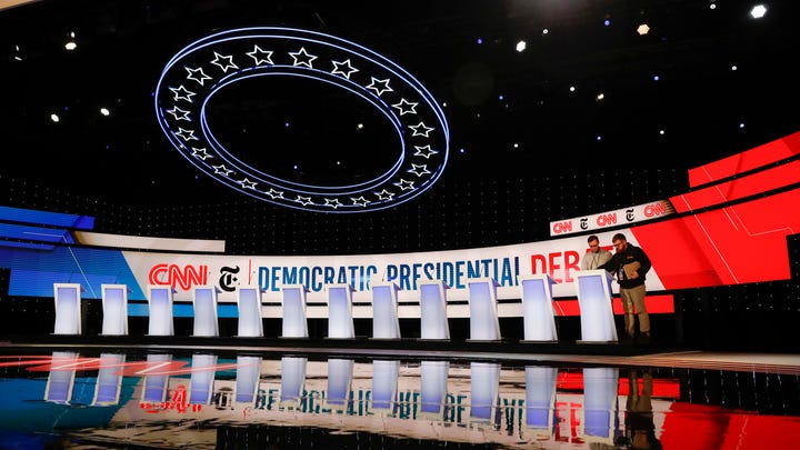 The stage is prepared where the CNN/New York Times will host the Democratic presidential primary debate at Otterbein University, Tuesday, Oct. 15, 2019, in Westerville, Ohio.