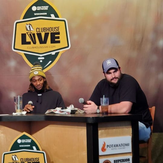 Green Bay Packers running back Aaron Jones (left) co-hosted Tuesday's Clubhouse Live in Appleton. Jones' guest was Packers offensive lineman Lucas Patrick (right).