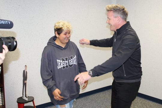 Chef Gordon Ramsay surprises Toms River Intermediate South student Kallista Flores, 12, on Oct. 16.