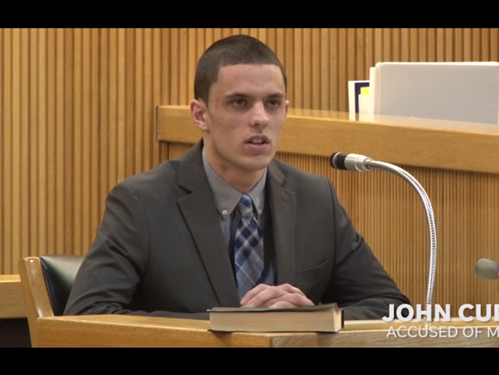 John Curtin, who is charged with the murder in Keyport of Evan Smutz, takes the witness stand